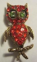 VINTAGE RHINESTONE OWL PIN / ORANGE RHINESTONES... - $20.85