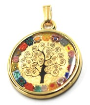"""MURANO GLASS ROUND MEDAL PENDANT TREE OF LIFE, 25mm 1"""", FLOWER FRAME, GOLD LEAF image 1"""