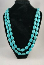"""Vintage hand beaded Howlite necklace on Turquoise colored cord 23"""" - £14.47 GBP"""