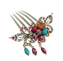 Classical Style Hair Comb Metal Pendant Rhinestones Hair Decoration, Colorful image 2