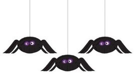 Creative Converting Halloween Dimensional Spider Hanging Cutouts 3pc per... - £6.15 GBP