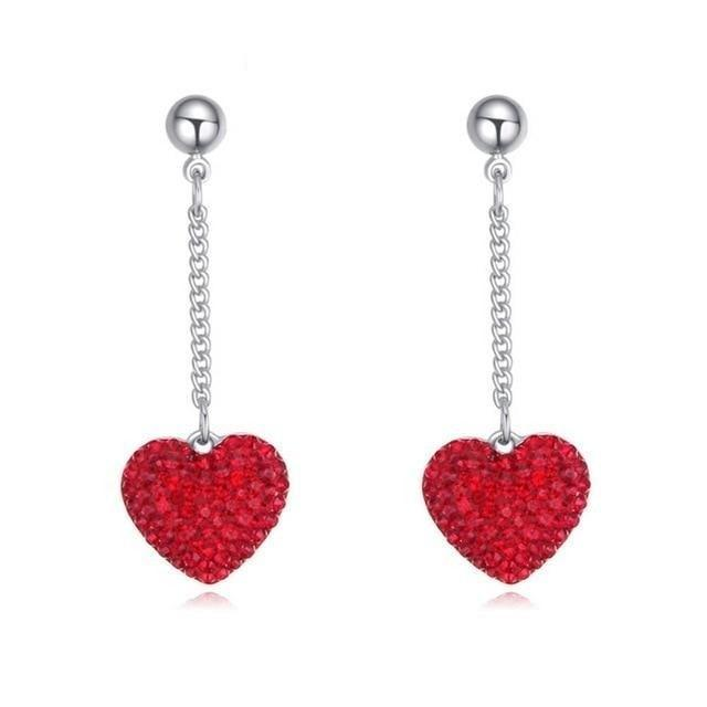 Heart Shape drop earrings With Crystals From Swarovski