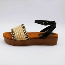 Bamboo Womens GIGI-08 Ankle Strap Sandals Tan Basketweave Buckle 6.5 New - $19.30
