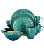 Elama Sea Foam Mozaic 16 Piece Luxurious Stoneware Dinnerware with Compl... - $84.82