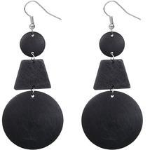Black Triple Geometric Wooden Drop Earrings - $13.50
