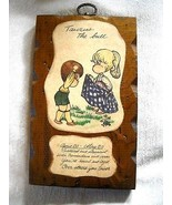 VTG 1970s-80 RUSTIC WOOD & WHIMSICALLY ILLUSTRATED TAURUS ZODIAC WALL PLAQUE  - $12.00