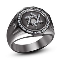 Round Cut Diamond Black Gold Plated 925 Sterling Silver Jewish David Star Ring - $107.20