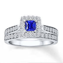 White Gold Plated 925 Silver Princess Cut Blue Sapphire Wedding Bridal R... - $86.99
