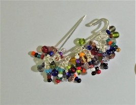 Safety pin Glass wood Ethnic handmade Womens jewelry Kilt pin Cluster pin brooch - $10.00