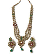 Na n031  New  Rajwadi Polki with Fine Cubic Zerconia Necklace Earring Set - $90.30
