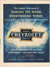 Vintage Ad 1945 Chevrolet Today-Volume for Victory, Tomorrow Volume for Value - $8.99