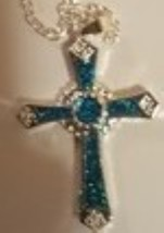 Christian Cross Necklace - Blue  - $15.99