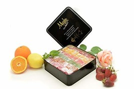 Mix Plain Turkish Delight Tin Box No Nuts - Mix of flavors: Rose, Strawberry, Le