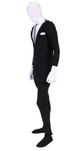 Slenderman Combinaison Élasthanne Nylon Sinistre Costume Halloween Adulte