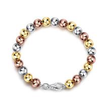 14K Yellow Gold Ladies Adjustable Friendship Bracelet Tricolor Oval Ball... - $12.73