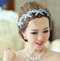 Bow Butterfly Rhinestone beads Bridal Wedding Evening Headband Ribbon Ha... - $13.09