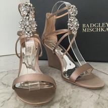 Badgley Mischka Leaf Sand Satin Women's Evening Wedge High Heels Sandals... - $222.75