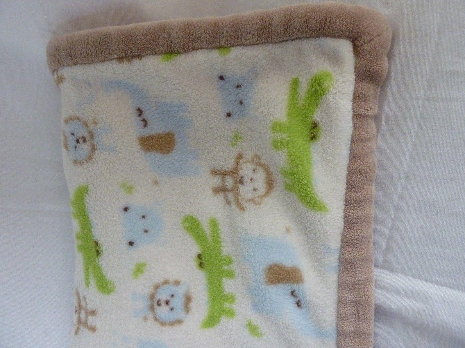 Carter/'s Just One You Baby Blanket Brown Sherpa Elephant Monkey Giraffe Jungle
