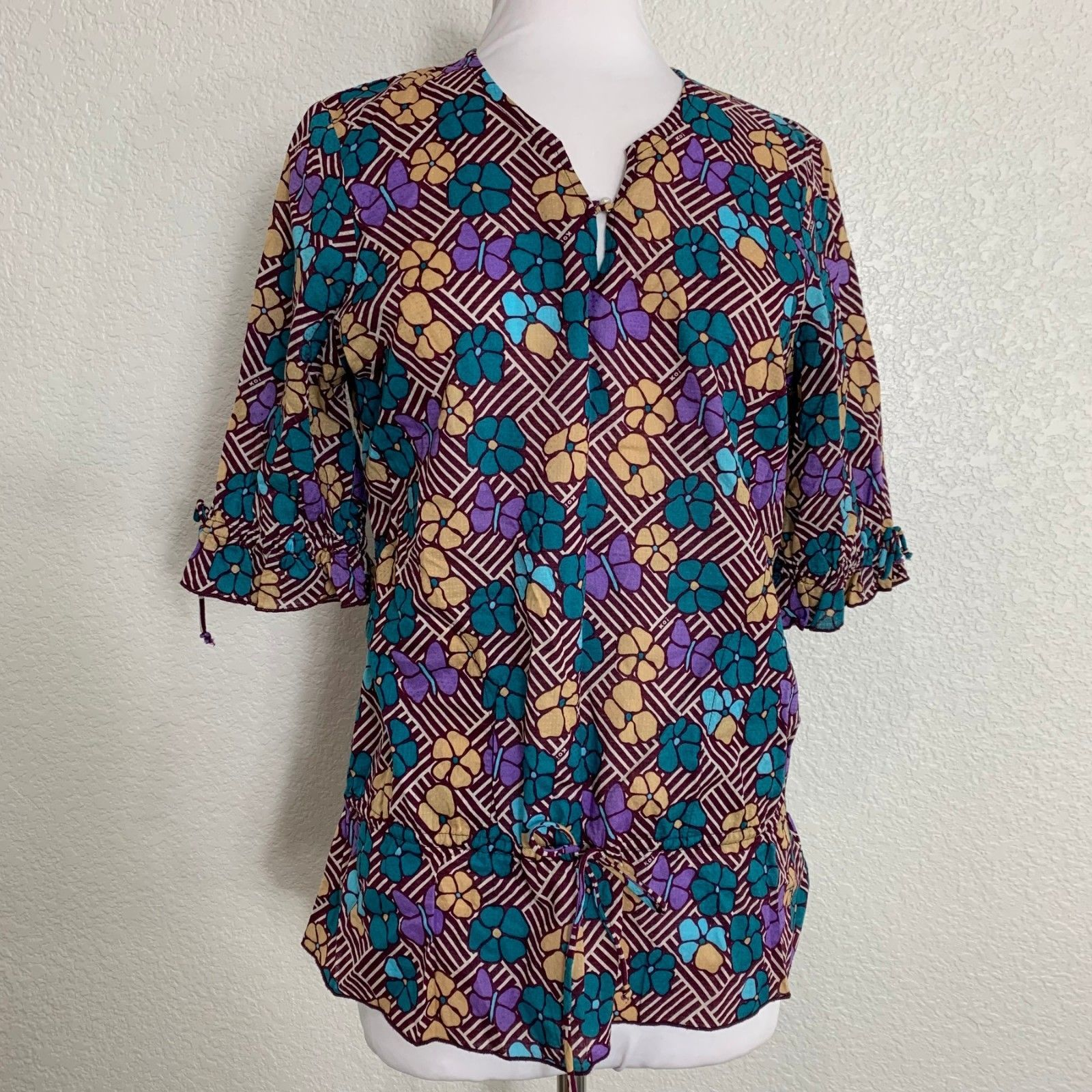 9d49c8a281d Koi Womens Scrub Top Size XS Green Purple and 50 similar items