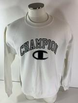 Vintage Champion 50/50 Sweatshirt Made in USA Big Block C Spellout Logo White XL - $74.24