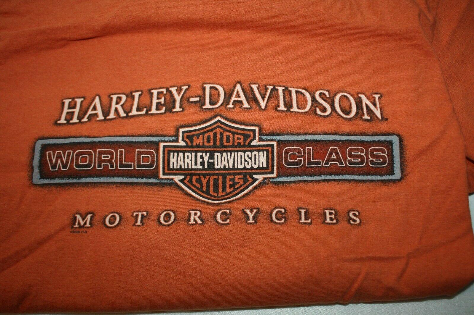 Harley Davidson Mens T-Shirt Orange Battlefield Harley Gettysburgh PA Size Small image 2