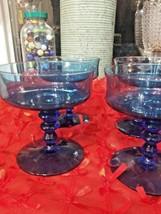 Vintage Set of 4 Champagne Sherbet RICHMOND BLUE Colony Stacked Stemware Glasses - $29.65