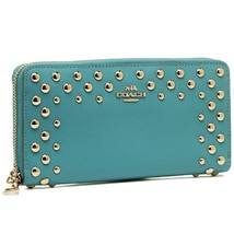 COACH STUDDED CROSSGRAIN ACCORDION LEATHER WALLET - $116.82