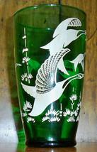 Vintage Emerald Green Glass Vase - Wild Geese - $7.00