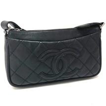 AUTHENTIC CHANEL Matelasse Semi Shoulder Bag Shoulder Bag Black Leather - $855.00