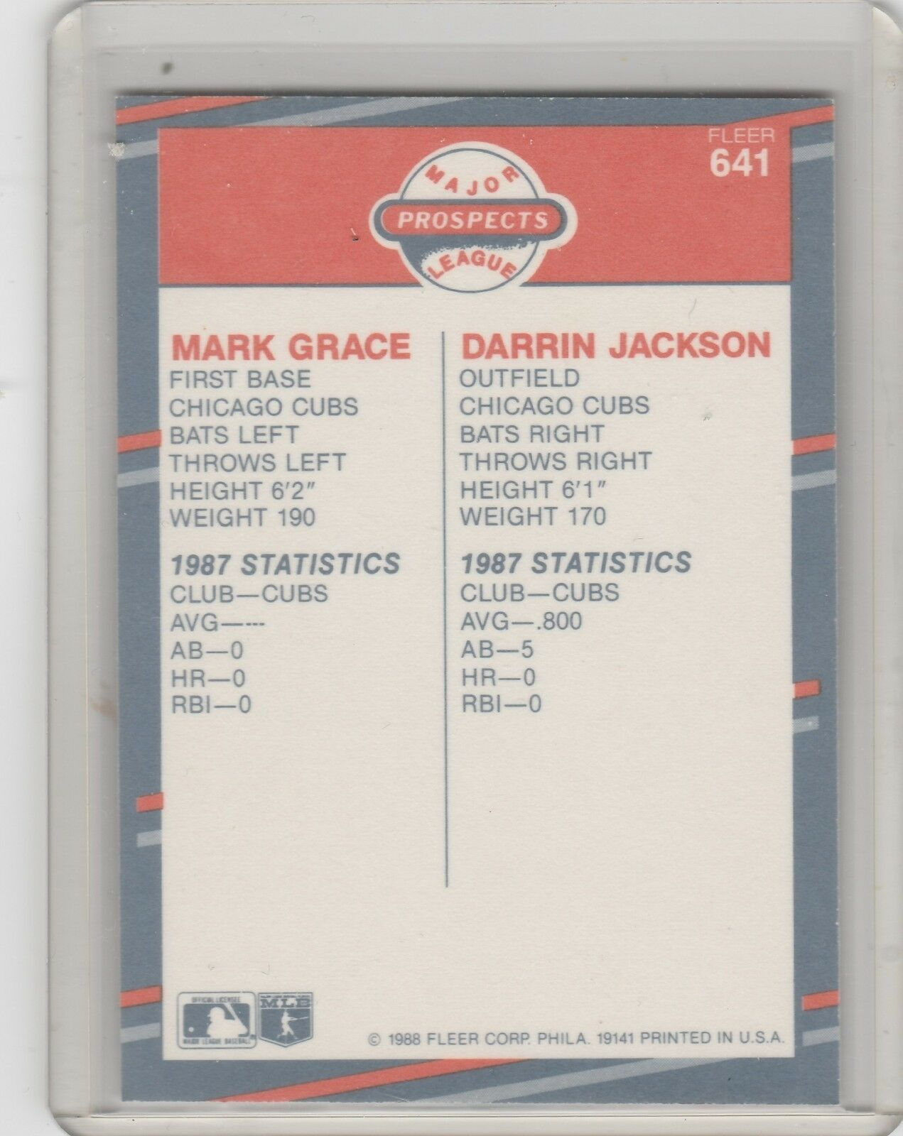 1988 Fleer  Glossy #641 Mark Grace, Darrin Jackson