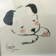 Chinese SLEEPING PUPPY DOG Original Watercolor Painting SIGNED Framed - $61.75