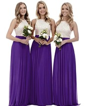 Off The Shoulder Long Prom Dress  Purple  Chiffon Bridesmaid Dresses Cus... - $95.33