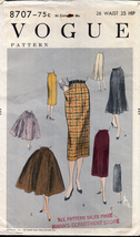 "Vintage 1950s Vogue 8707 Skirts Full and Slim Unprinted Waist 26"" Hip 35"" - $20.00"