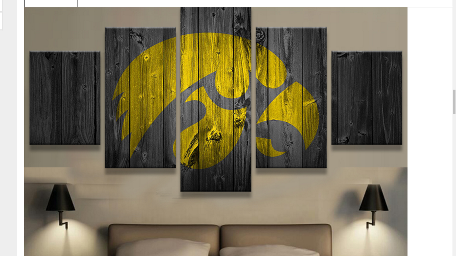 Large framed iowa hawkeyes college barn wood style canvas for Iowa hawkeye decor