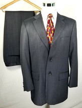 Loriano Collection Suit 42 Long 36 x 29 + 1.5 Inches Gray Brushed Wool - $59.35