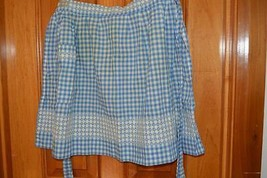 Vintage half waist apron pocket blue gingham ha... - $10.66