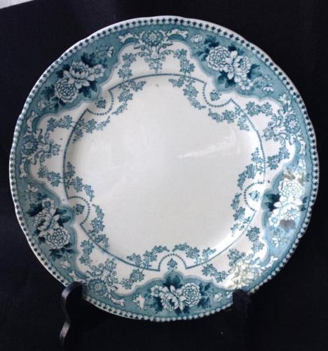 "Antique F. & Sons Ford Blue Transferware Argyle 9½"" Dinner Plate Burslem England"