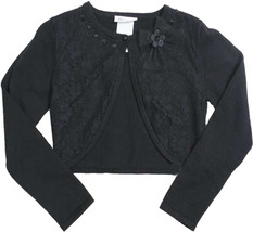 Bonnie Jean Big Girl Tween 7-16 Black Lace Front Knit Cardigan Sweater