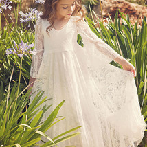 2019 Sexy Ivory Lace A Line Long Flower Girl Dress With Sleeve V-Neck Party Gown image 3