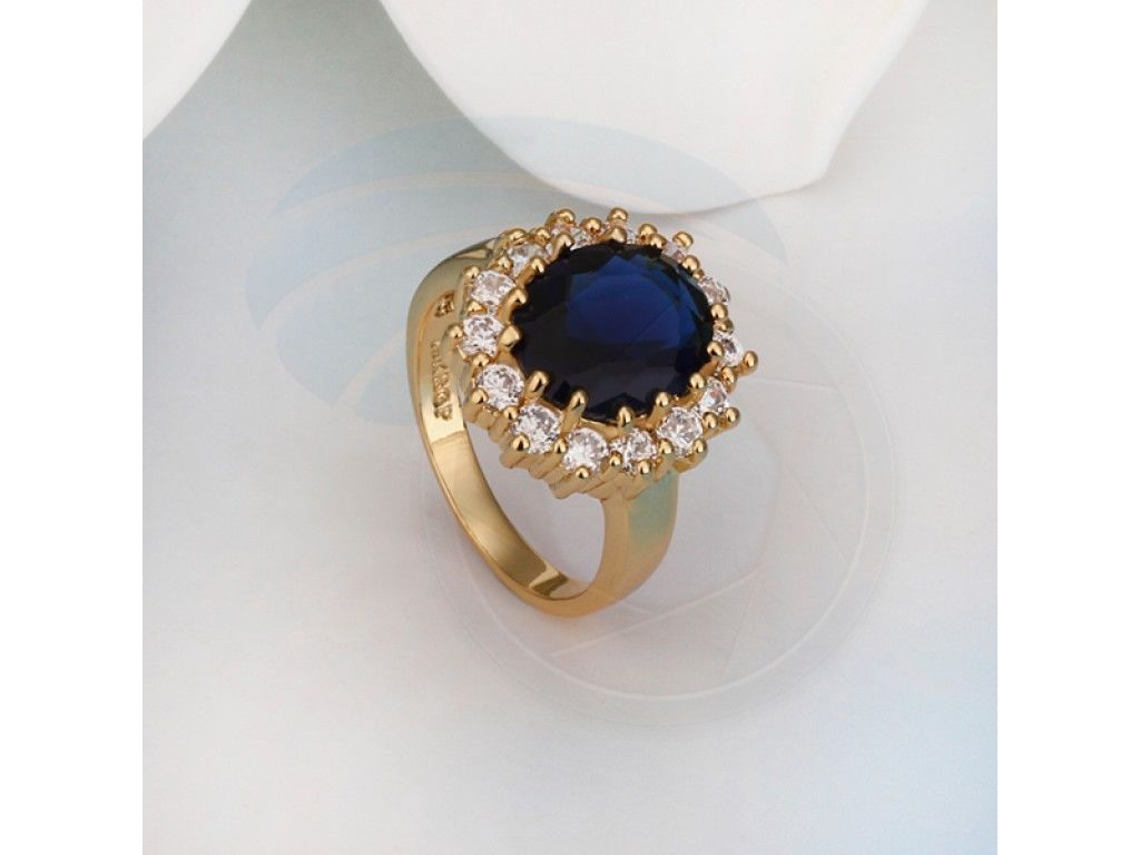 Size 8 Brass 18K Yellow Gold Plated Blue Zircon Crystal Lady Ring