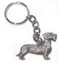 Dachshund Wire Haired Dog Keychain Keyring Harris Pewter Made USA Key Ch... - $9.48