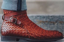 Handmade Men Brown High Ankle Monk Strap Stylish Leather Boot image 3