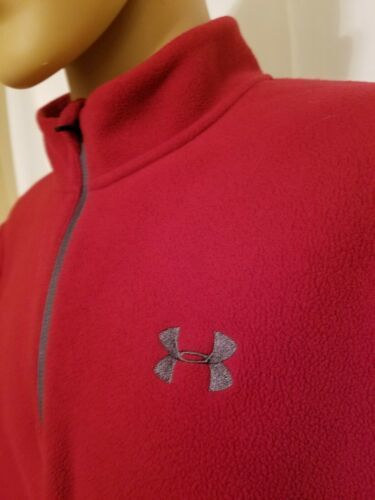 Under Armour Red Fleece Jacket Half Zip Long Sleeve Mens Size XL Extra Large UA  image 3