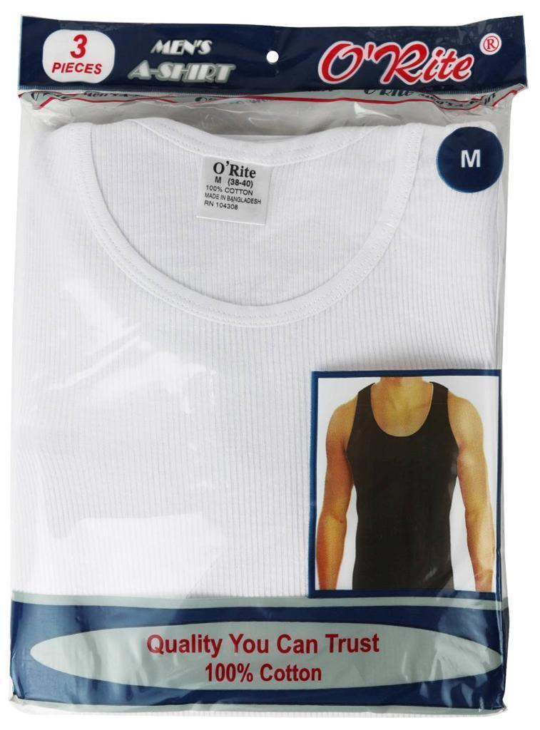 NEW O'RITE MEN'S PACK OF 3 CLASSIC COTTON SLEEVELESS RIBBED TANK TOPS A902