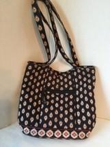 Vera Bradley Shoulder Purse Tote Bag Black Red White Quilted Vintage Pri... - $29.99