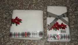 3 Pc Martha Stewart Christmas Poinsettia Guest Hand Towels NWT FREE SHIP... - $32.66