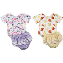 0 24M Newborn Toddler Baby Girls Off Shoulder Bodysuit Short Sleeve Frui... - $11.39