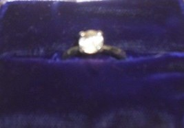 "V04 AVON sz 6 ring: raised-claw 1/4"" clear solitaire; silver band; gift ... - $4.99"