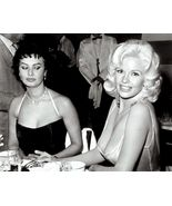 SOPHIA LOREN & JAYNE MANSFIELD AT A PARTY IN 1957- 8X10 PUBLICITY PHOTO - $15.00