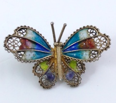 Butterfly Brooch 800 Vermeil Filigree Enamel image 1